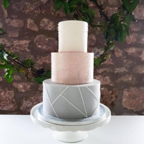 grey geo cake